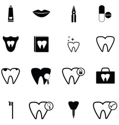 dentist icon set vector image