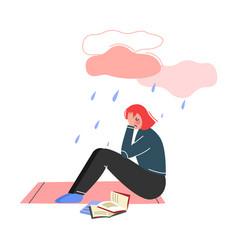Depressed teen girl sitting under rain cloud vector