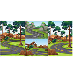different scenes with roads in the park vector image