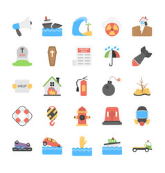 Disasters and weather conditions flat icons pack vector