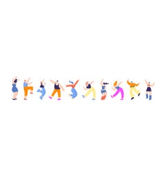 disco party group dancing people horizontal banner vector image
