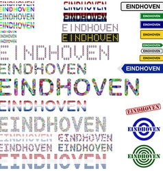 Eindhoven text design set vector image