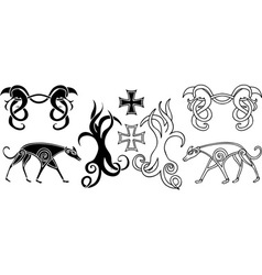 Elements in viking style vector