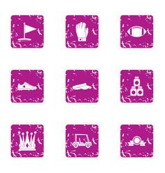 Elite entertainment icons set grunge style vector