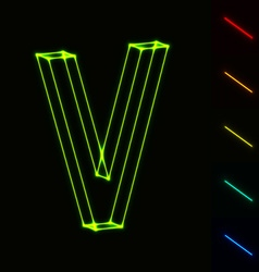 EPS10 glowing wireframe letter V - easy to change vector