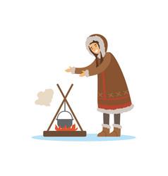 Eskimo inuit chukchi woman character in vector
