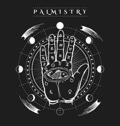 esoteric human hand fish tattoo poster vector image