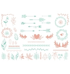 Ethnic tribal boho elements Arrows and feathers vector