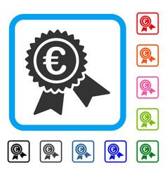 european guarantee seal framed icon vector image