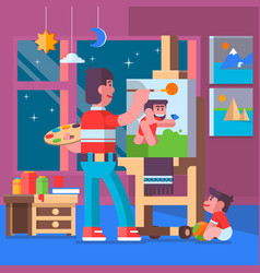 father painting pictures with their children vector image