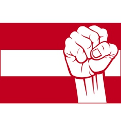 Flag of Austria with fist vector