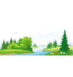 Forest river scene vector