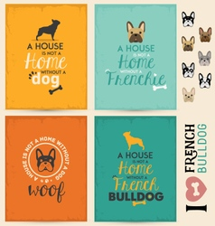 French Bulldog Typographic Background Set vector