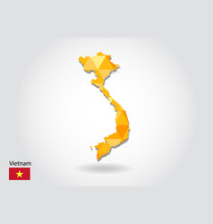 geometric polygonal style map of vietnam low poly vector image