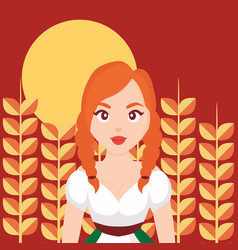 German woman in wheat cultivation vector