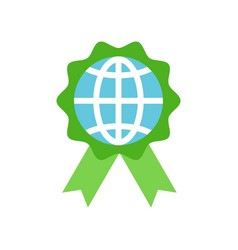 Globe or planet earth icon on green badge flat vector