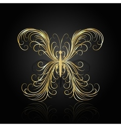 Gold swirl pattern in shape of a butterfly vector
