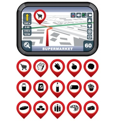 GPS navigator with the pointer supermarket vector