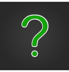 green question mark with shadow on black vector image