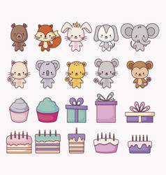 group of cute animals and set icons vector image