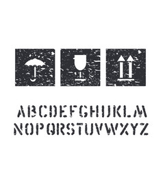 grunge box signs and cargo alphabet glass vector image