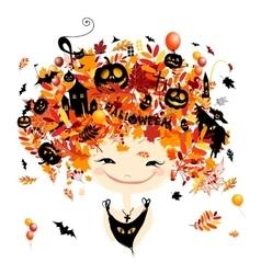 Halloween holiday design female head vector image