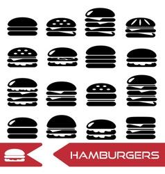 Hamburgers types fast food modern simple icons vector