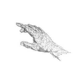 hand touching low poly bw vector image