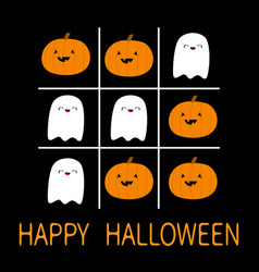 happy halloween tic tac toe game with ghost vector image