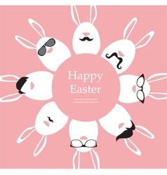 Happy Hipster Easter - set of stylish bunnyeggs vector image