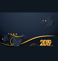 happy new year 2019 luxury gold and dark blue vector image