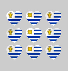 heart icons with the flag of uruguay vector image vector image