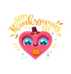 heart with pumpkin for thanksgiving vector image