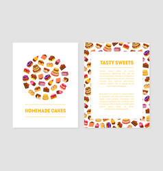 Homemade cake tasty sweets banner templates vector