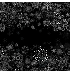 Invitation card with flowers and snowflakes vector