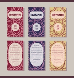 Invitation cards templates vintage collection vector
