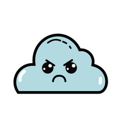 Kawaii cute angry cloud weather vector
