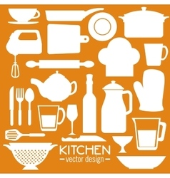 Kitchen dishware utensils vector