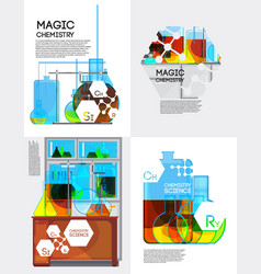 magic chemistry posters set vector image