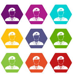 Modern army soldier icon set color hexahedron vector