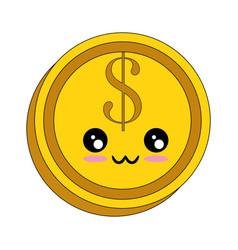 money coin isolated kawaii cartoon vector image