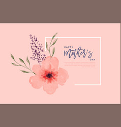 mothers day pink watercolor flower card template vector image
