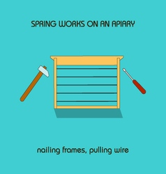 Nailing frames pulling wire spring work vector
