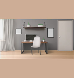 Office room interior with desk monitor and chair vector