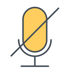 Old microphone disabled thin line icon pictogram vector