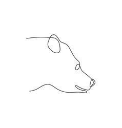 one line bear head design silhouette logo design vector image
