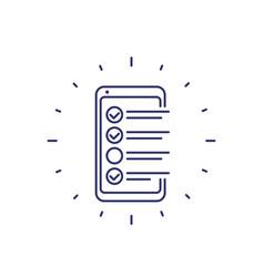 Online survey form in phone checklist line icon vector