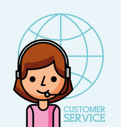 operator woman world business customer service vector image
