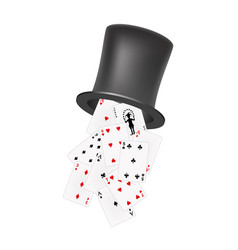 Playing cards falling out of a hat vector
