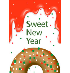 postcard donut sweet new year vector image